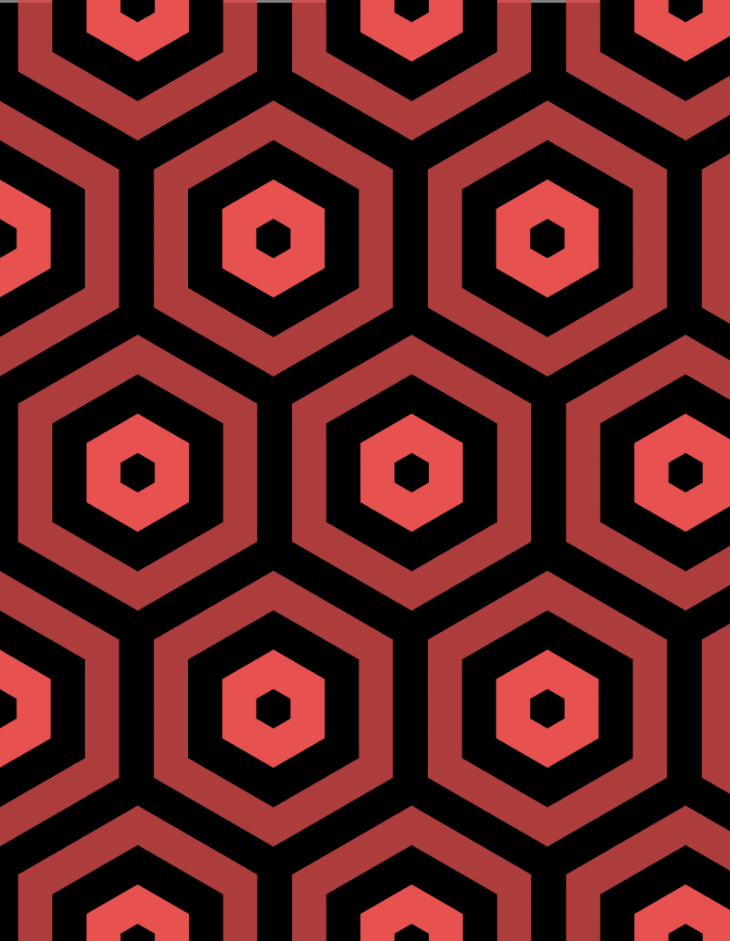 Geometric Pattern: Hexagon Hive: Dark Negative / Red Wolf