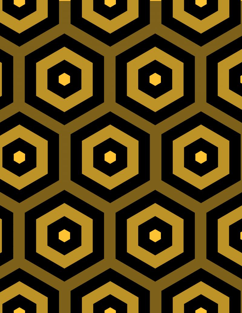 Geometric Pattern: Hexagon Hive: Dark Positive / Red Wolf