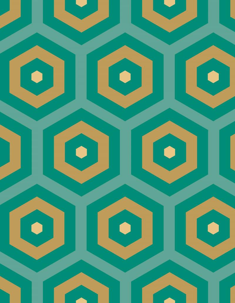 Geometric Pattern: Hexagon Hive: Deco / Red Wolf