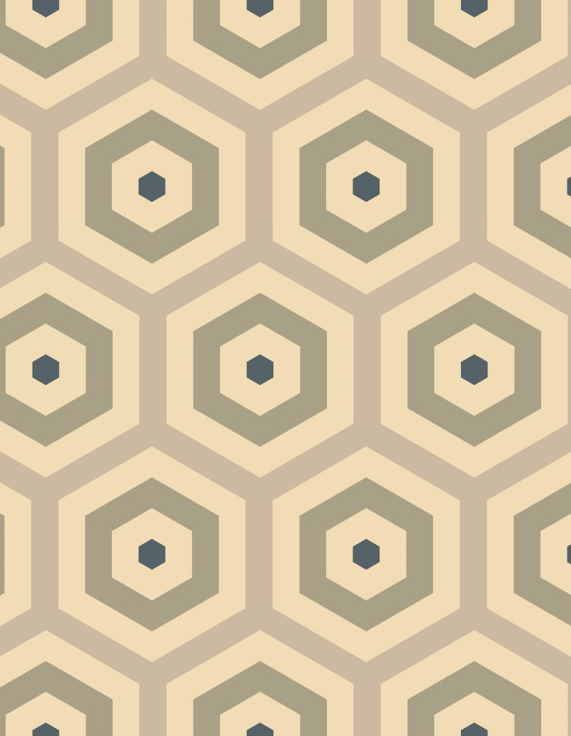 Geometric Pattern: Hexagon Hive: Antique / Red Wolf