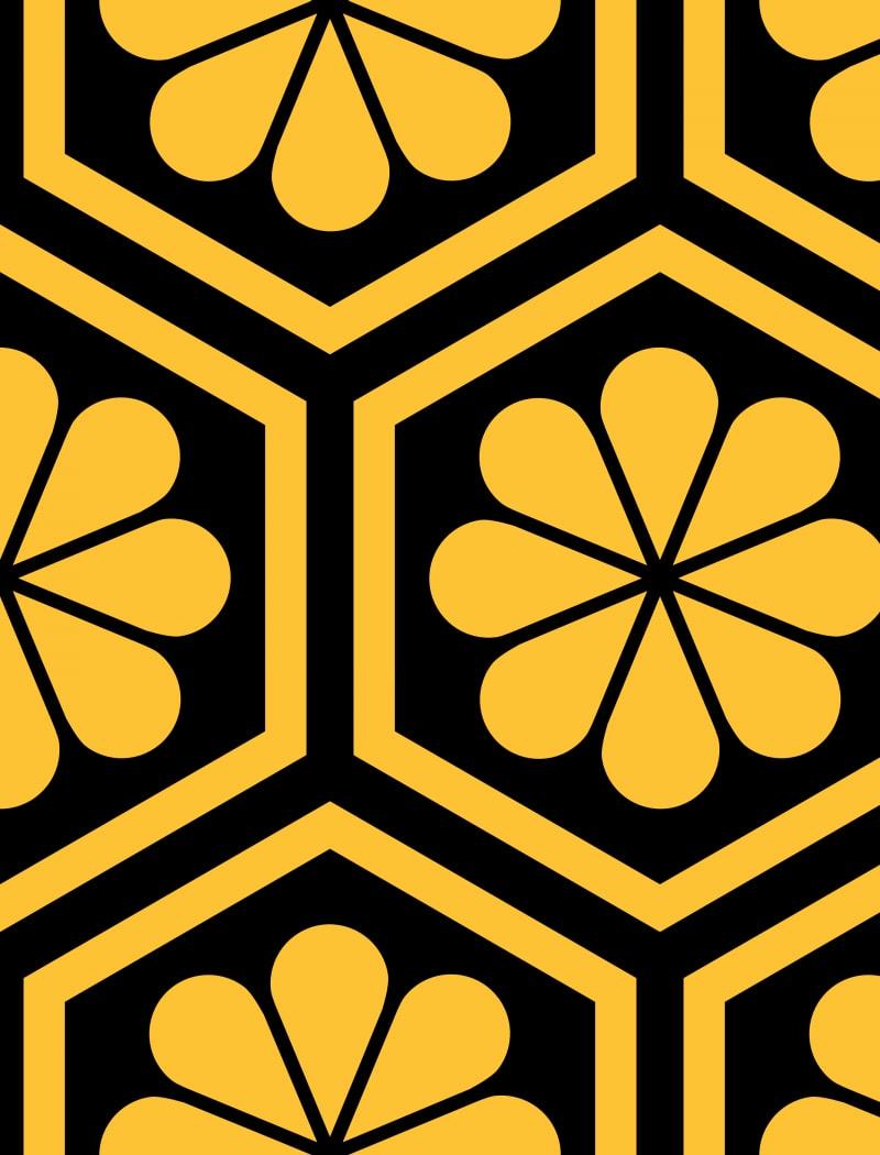 Geometric Pattern: Hexagon Flower: Colour/Black / Red Wolf