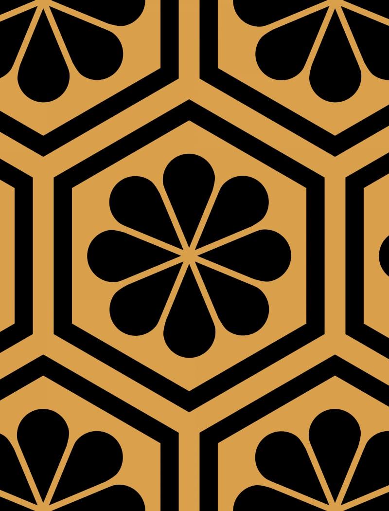 Geometric Pattern: Hexagon Flower: Deco / Red Wolf
