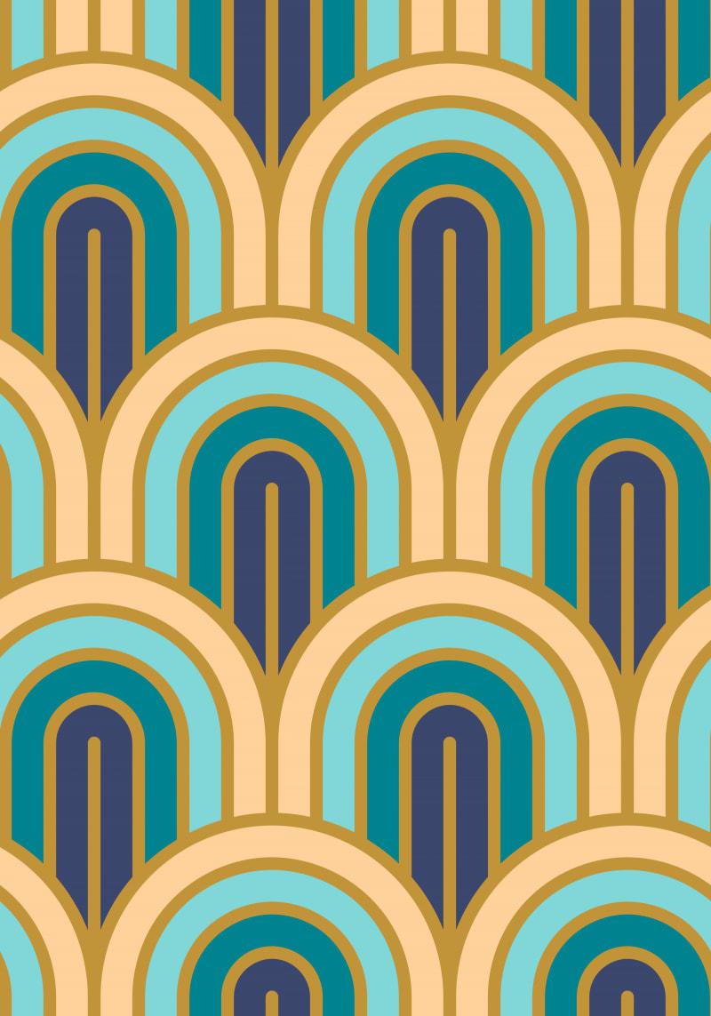 Geometric Pattern: Art Deco Arch / Red Wolf