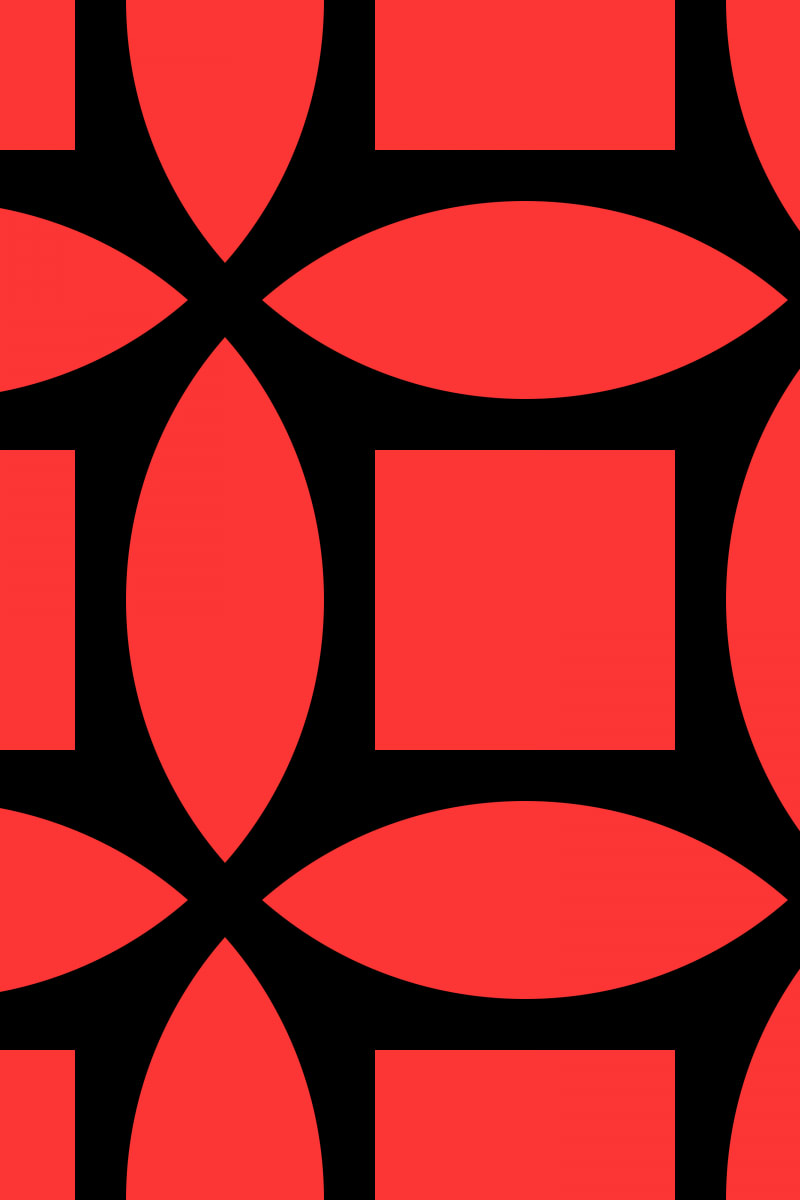 Geometric Pattern: Intersect Square: Black Colour / Red Wolf
