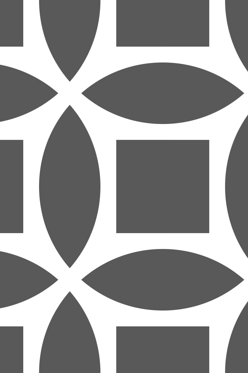 Geometric Pattern: Intersect Square: White Monochrome / Red Wolf