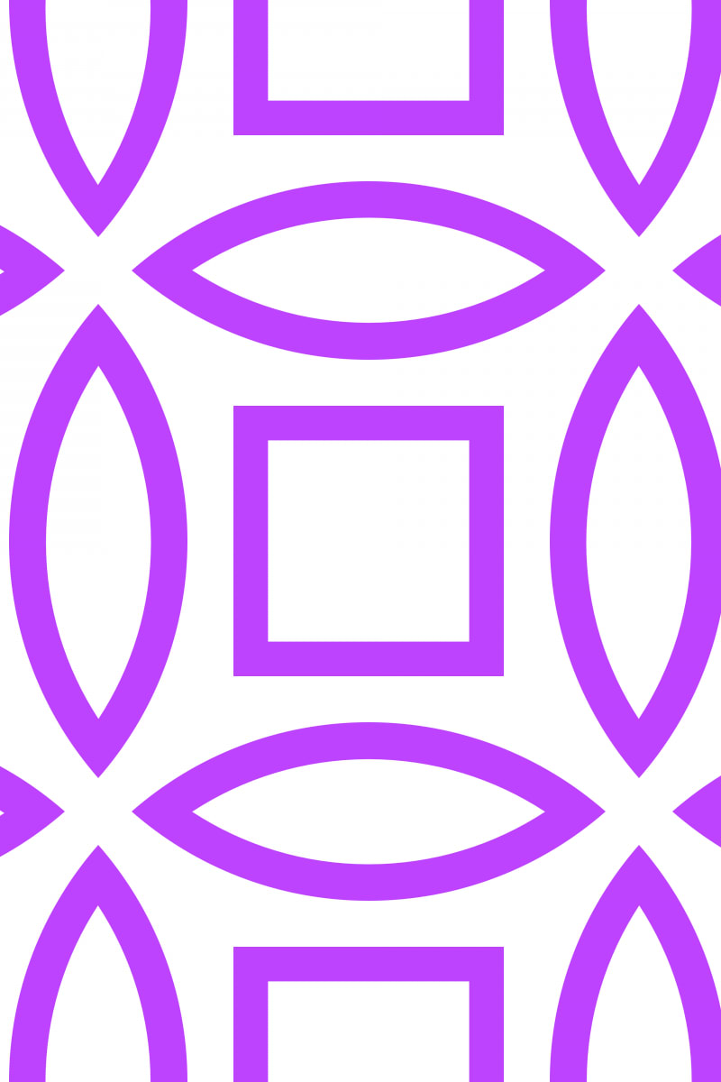 Geometric Pattern: Intersect Outline: White Colour / Red Wolf