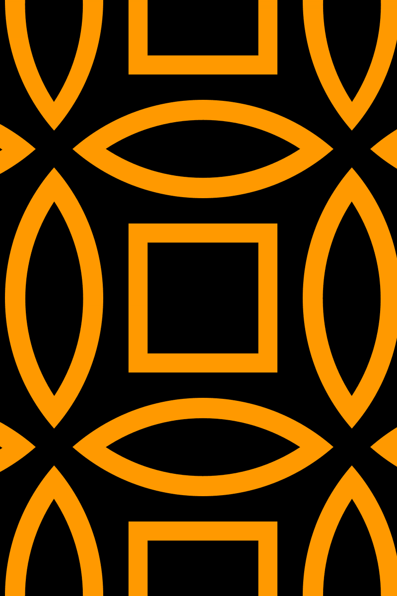 Geometric Pattern: Intersect Outline: Black Colour / Red Wolf