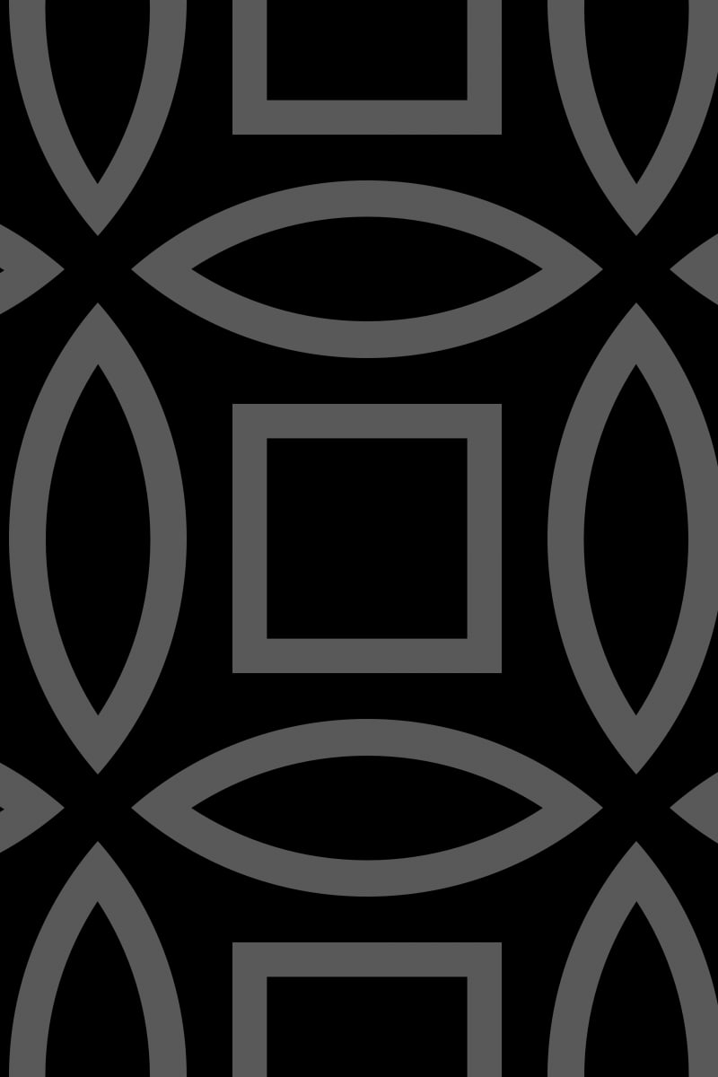 Geometric Pattern: Intersect Outline: Black Monochrome / Red Wolf