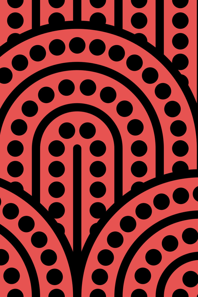 Geometric Pattern: Arch Dot: Black Outline / Red Wolf