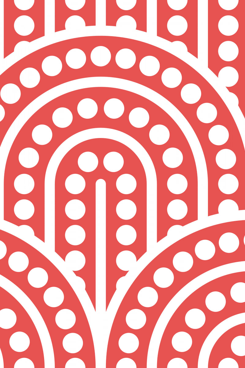 Geometric Pattern: Arch Dot: White Outline / Red Wolf