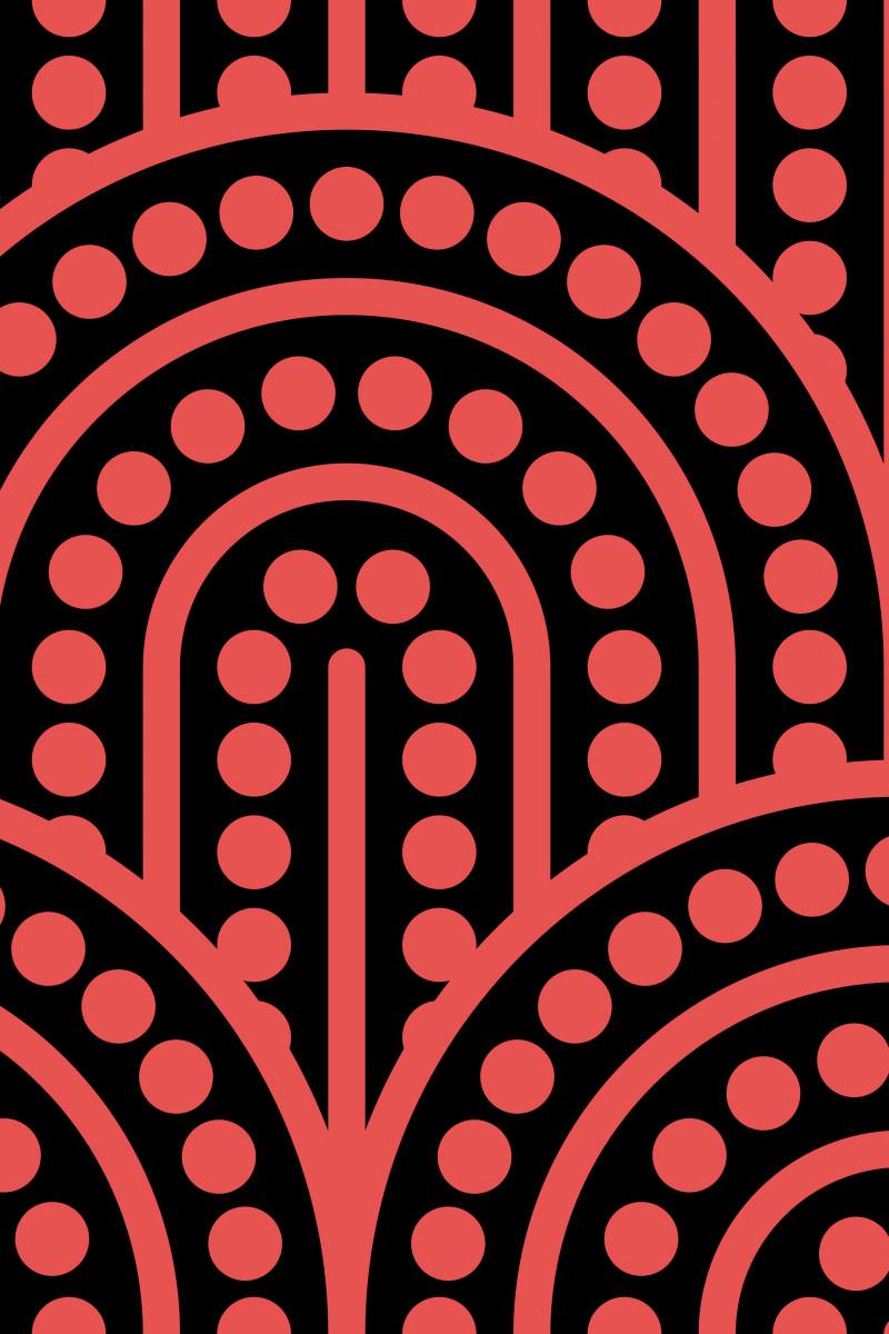 Geometric Pattern: Arch Dot: Black Background / Red Wolf
