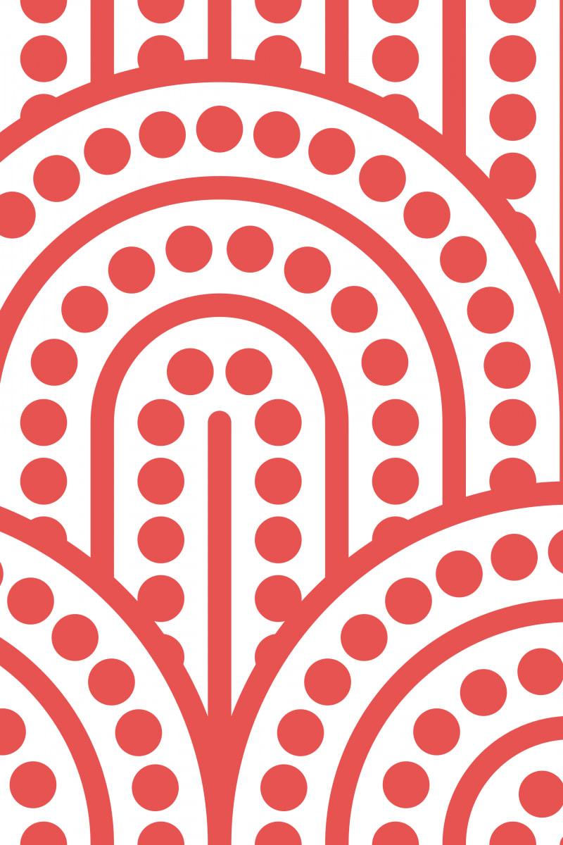Geometric Pattern: Arch Dot: White Background / Red Wolf