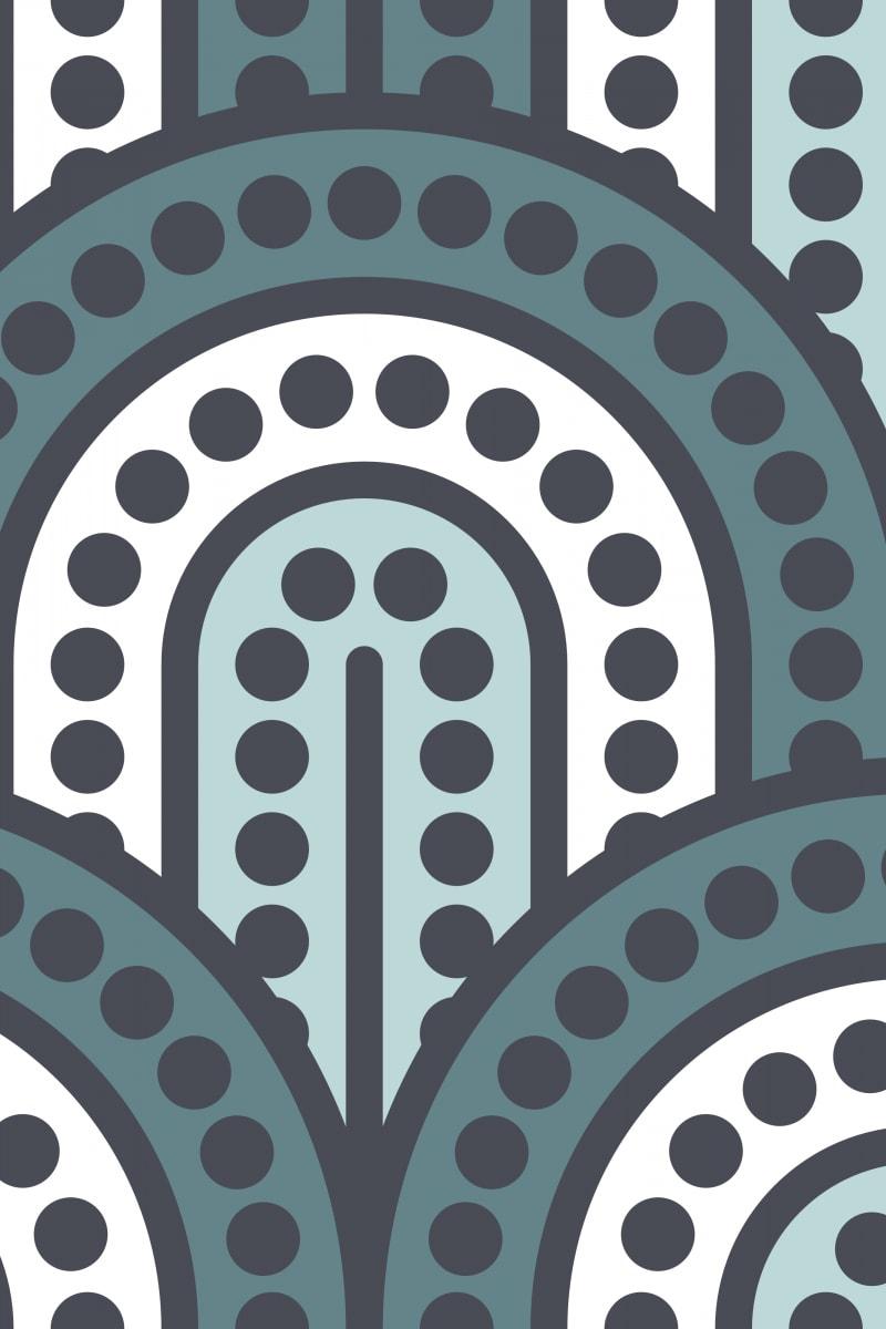 Geometric Pattern: Arch Dot: Quad 2 / Red Wolf