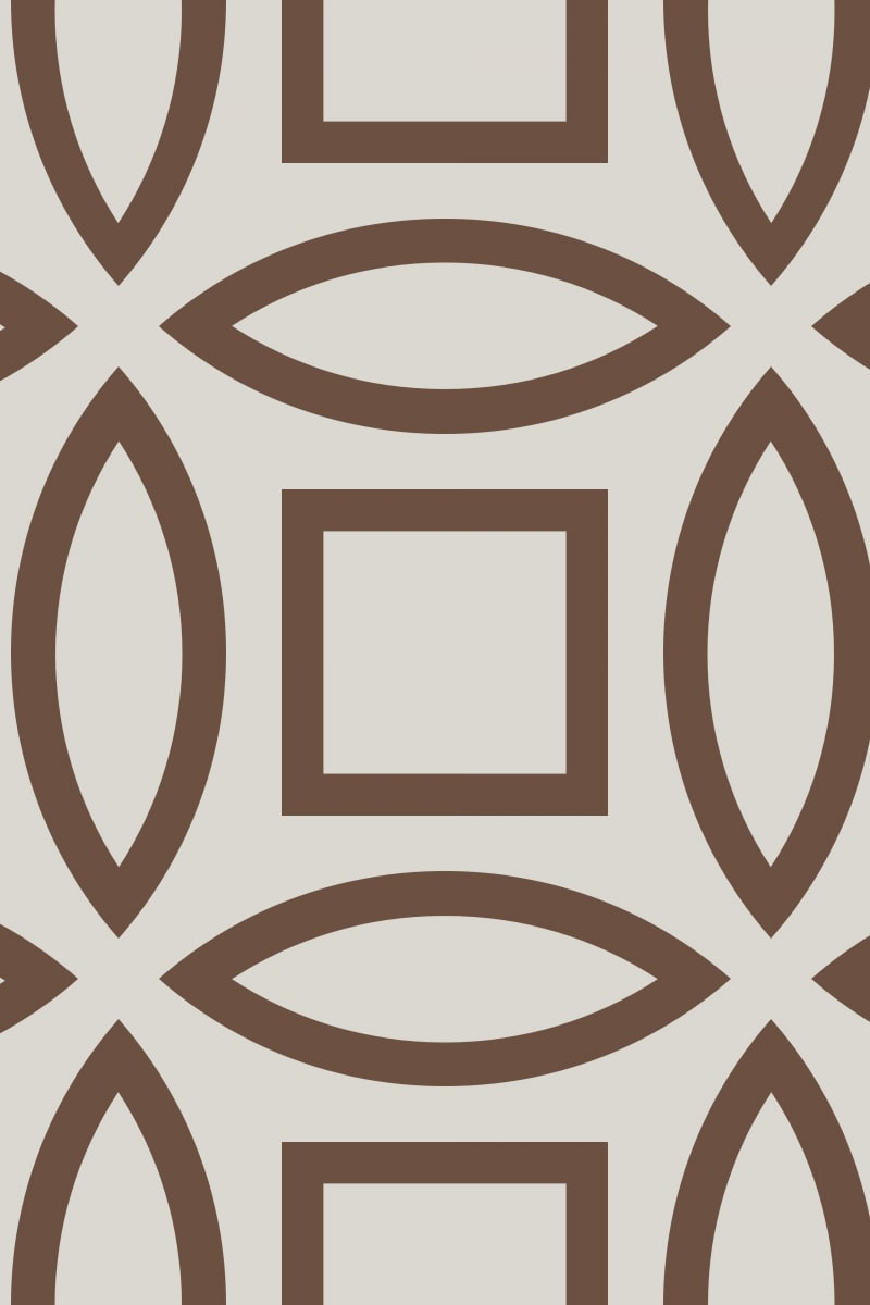 Geometric Pattern: Intersect Outline: Stone / Red Wolf