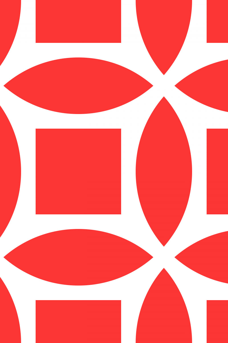 Geometric Pattern: Intersect Square: White Colour / Red Wolf