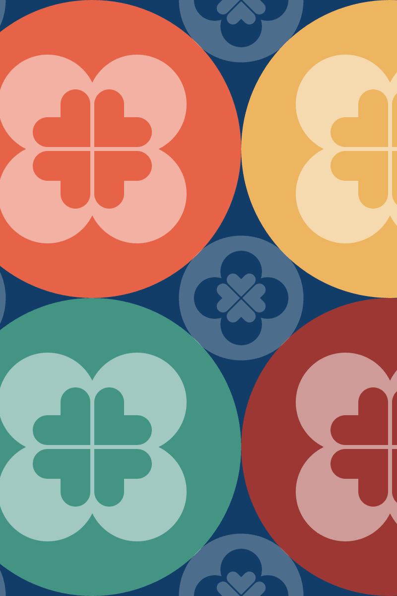 Geometric Pattern: Flower Circle: Garden / Red Wolf
