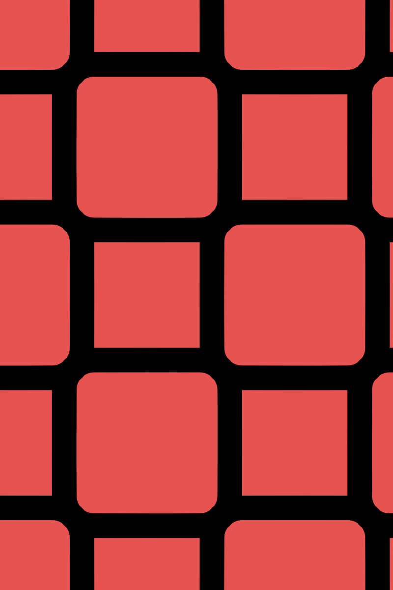 Geometric Pattern: Rounded Weave: Black/Colour / Red Wolf