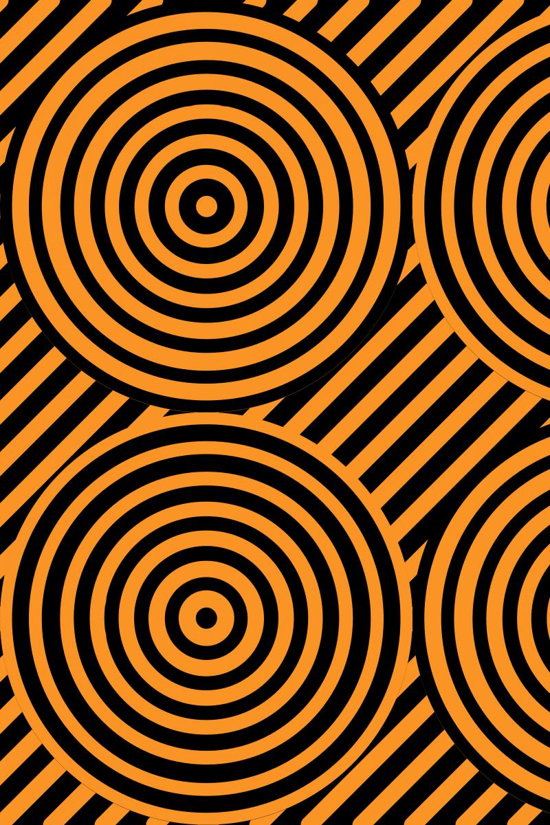 Geometric Pattern: Circle Strobe: Black / Red Wolf
