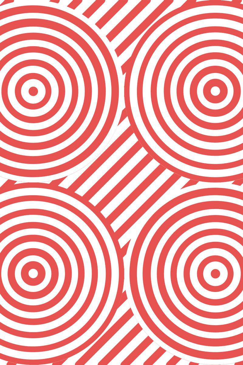 Geometric Pattern: Circle Strobe: White / Red Wolf