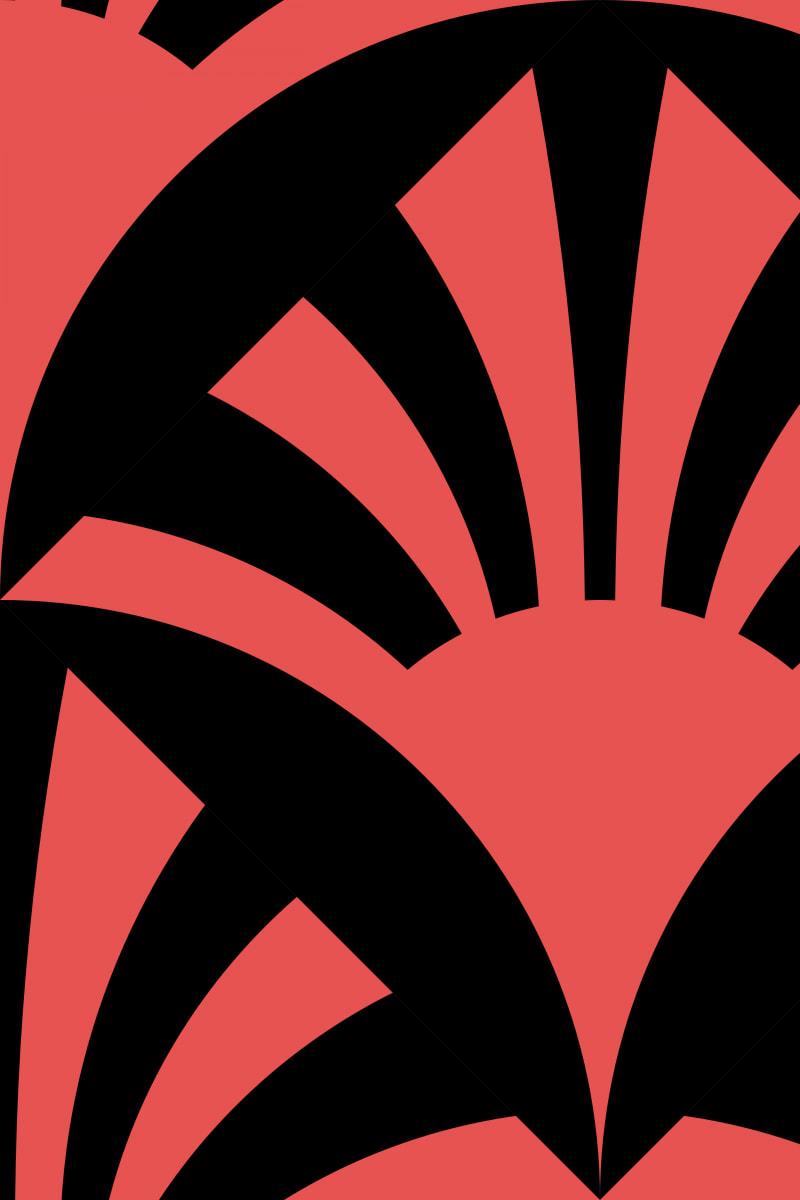 Geometric Pattern: Deco Sunset: Black / Red Wolf
