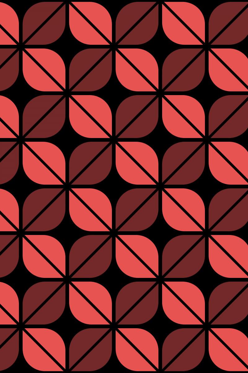 Geometric Pattern: Leaf: Black / Red Wolf