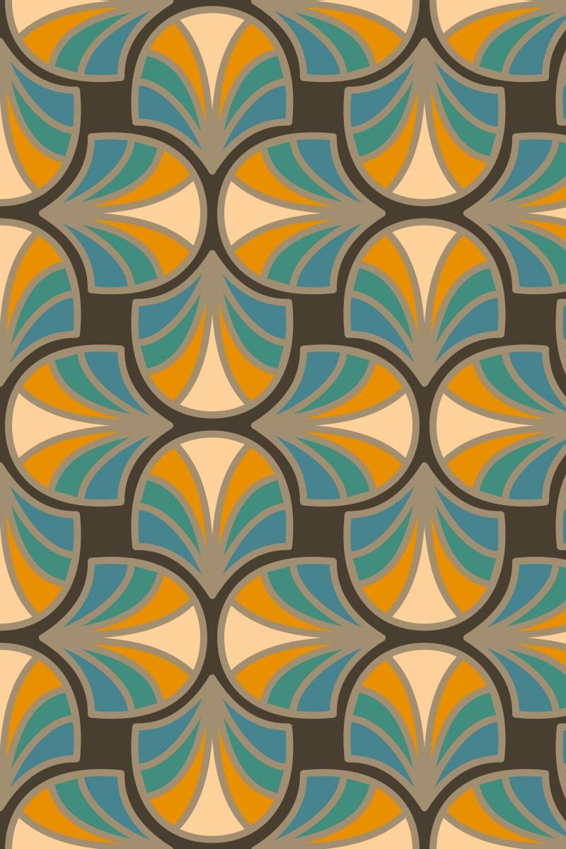 Geometric Pattern: Art Deco: Curve / Red Wolf