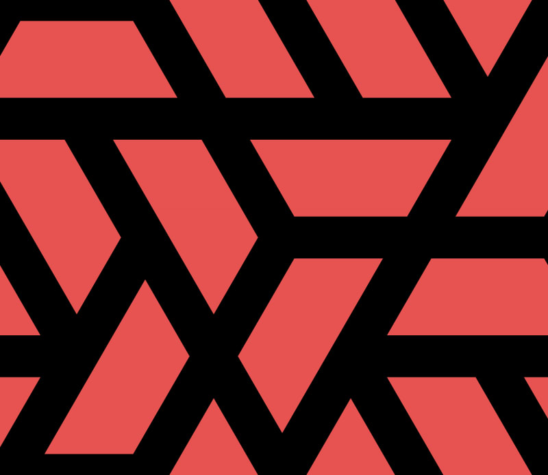 Geometric Pattern: Aperture: Black Outline / Red Wolf
