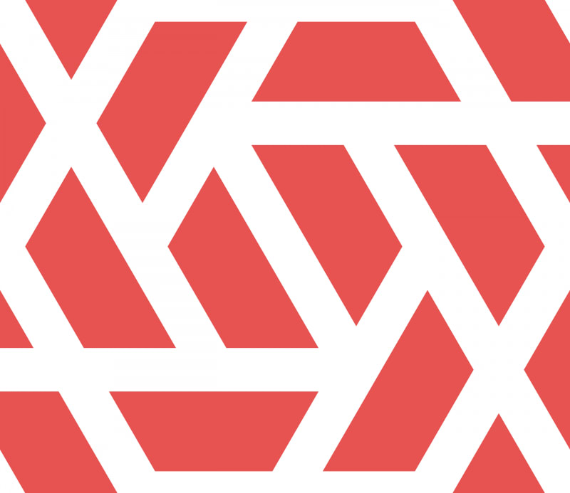 Geometric Pattern: Aperture: White Outline / Red Wolf