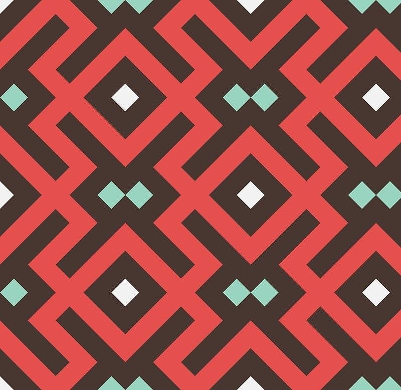 Geometric Pattern: Diamond Delta / Red Wolf