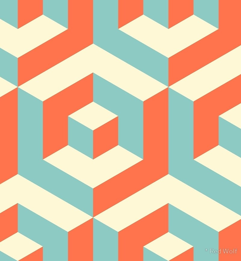 Geometric Pattern: Cube Inset / Red Wolf