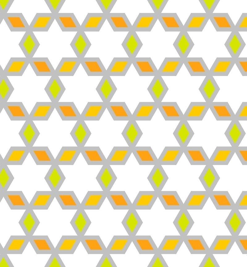 Geometric Pattern: Hexagon Star Diamond / Red Wolf