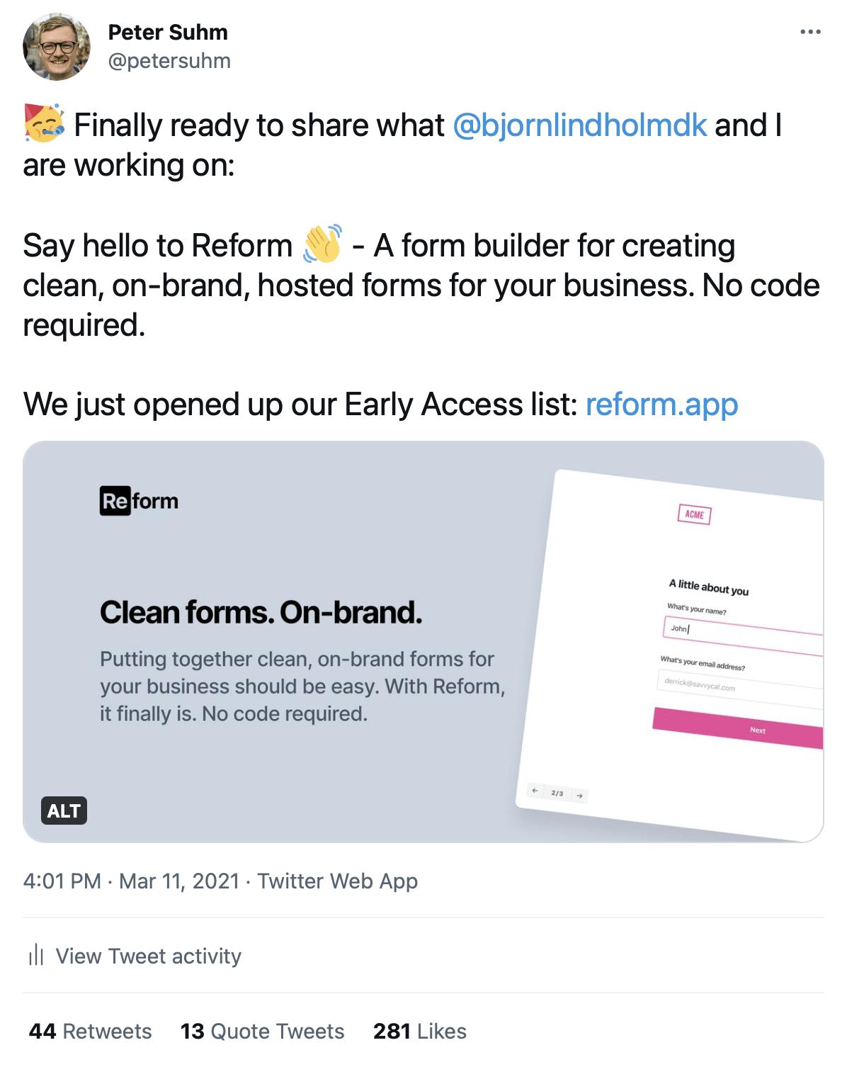 Screenshot of Reform announcement tweet