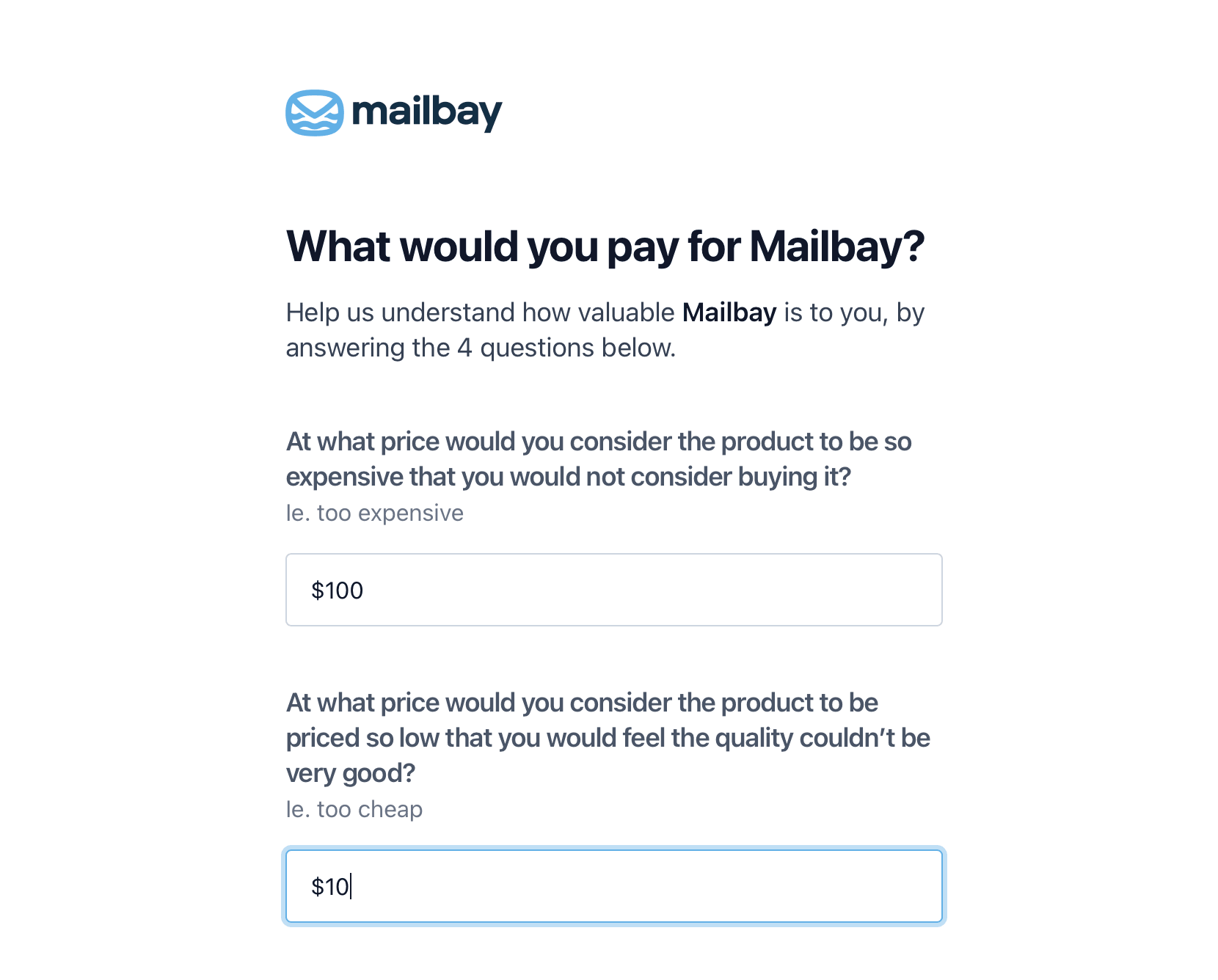 Reform pricing survey screenshot
