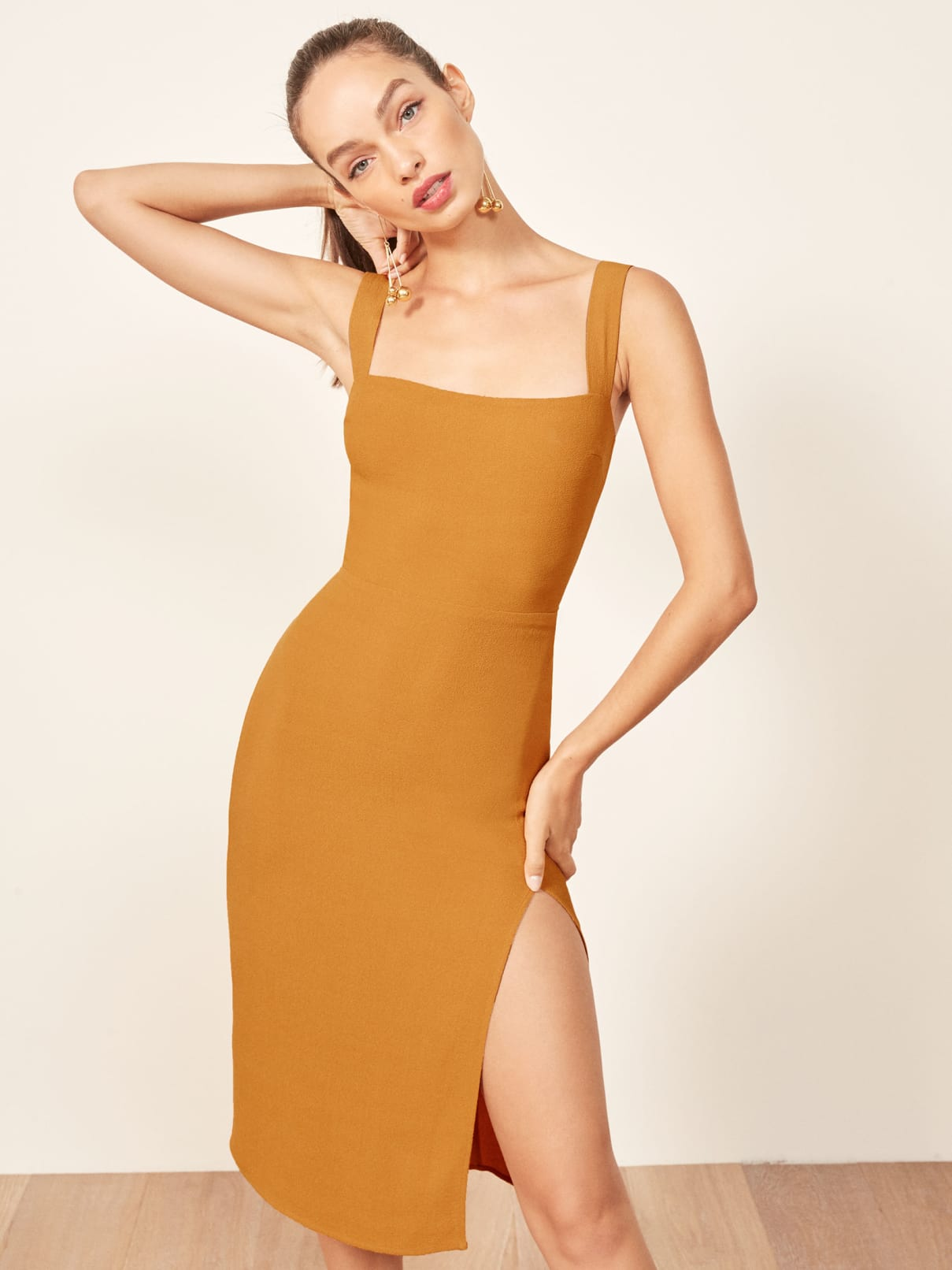 Midi Slit Dress in Mustard Yellow