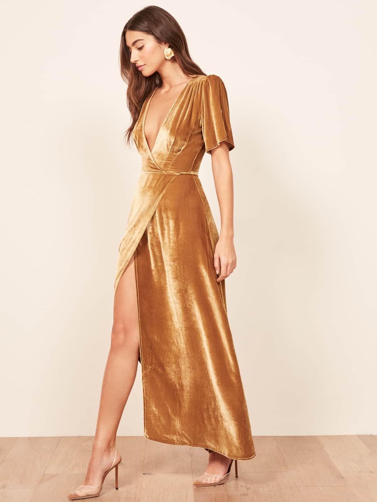 Gold Velvet Wrap Dress