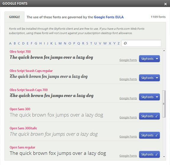 Google Fonts en SkyFonts