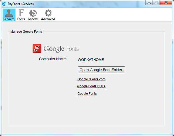 SkyFonts Open Google Font Folder