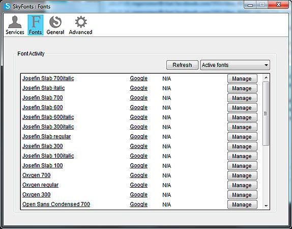 SkyFonts Downloaded Fonts