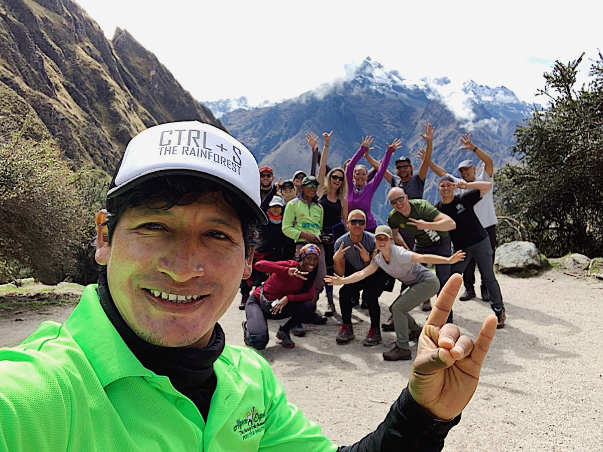 Celebrating with our guide Daniel after everyone made it to the top of Dead Woman's Pass