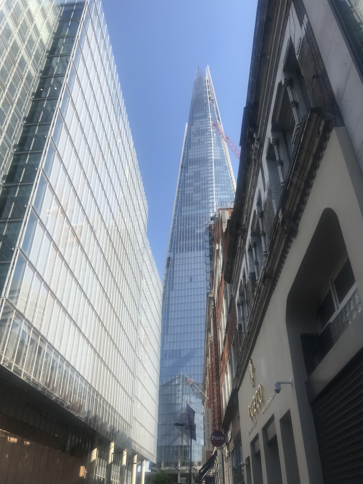 Great views of the Shard as you walk to Vinegar Yard