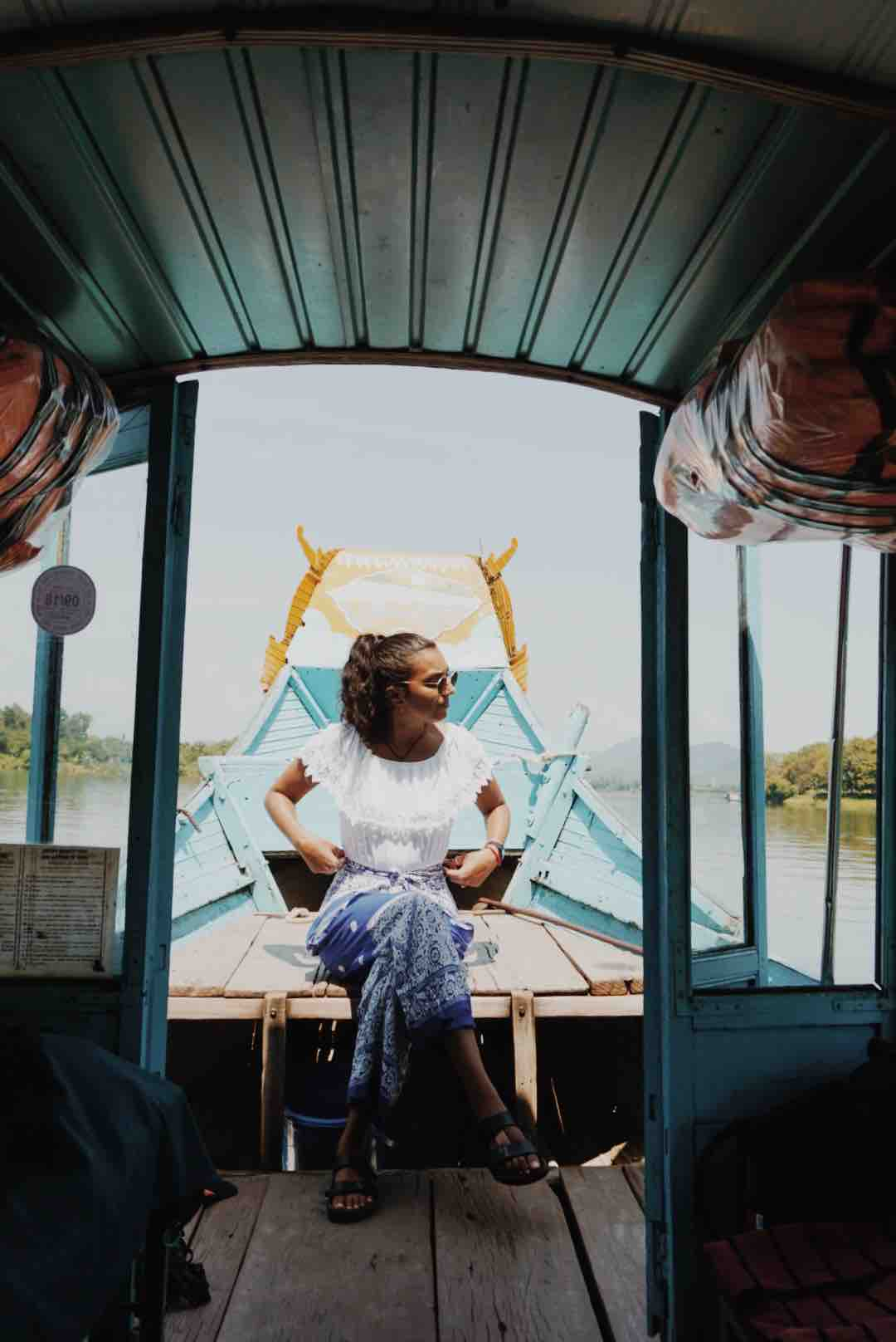 Inside the dragon boat