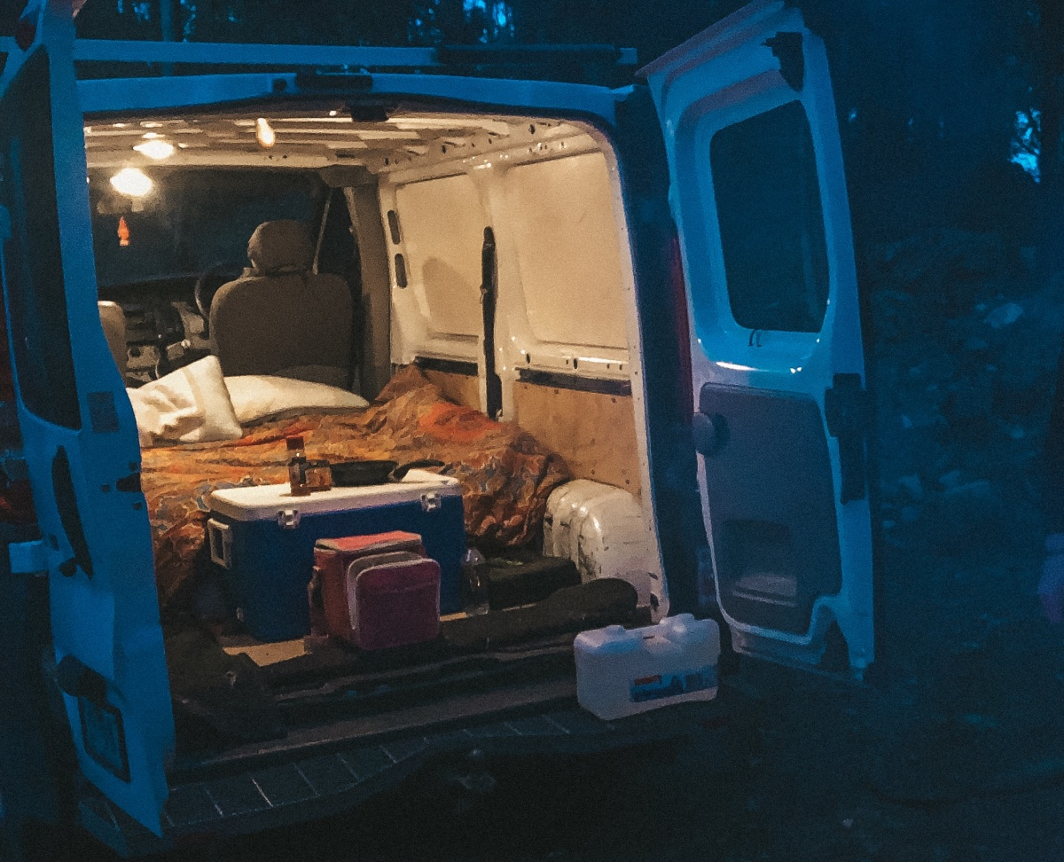 Our cosy van setup next to our camp fire.