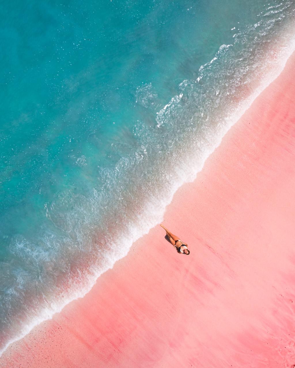 Em Enjoying the Pink Beach