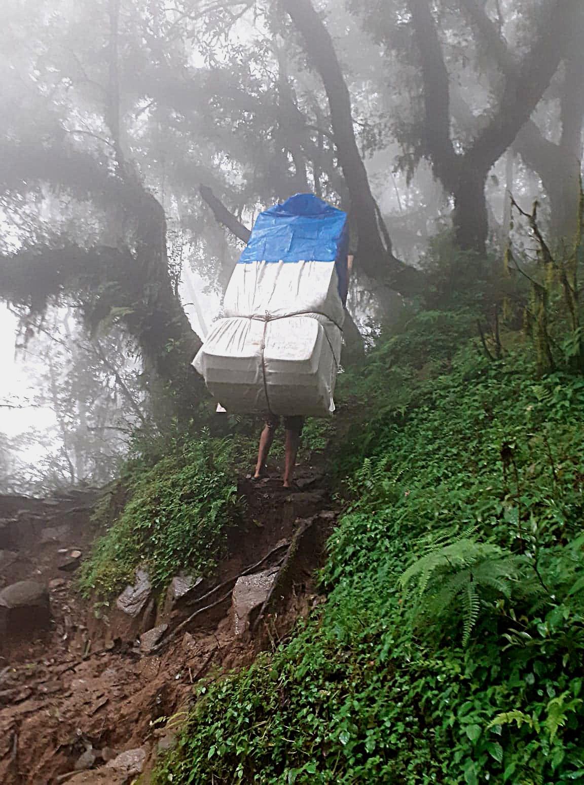 Sharpa carring a mattress  on a path