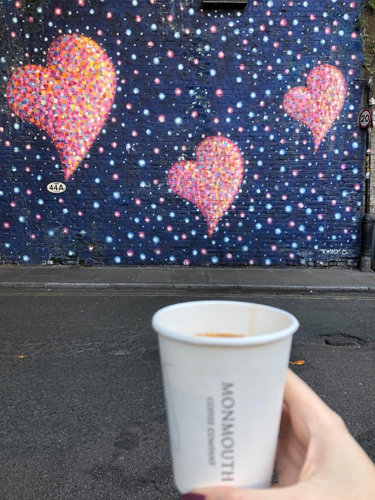 Just a short walk from the market is one of my FAVE coffee houses called Monmouth coffee. Grab one to go whilst you walk around. (I thought the heart background was very apt!)
