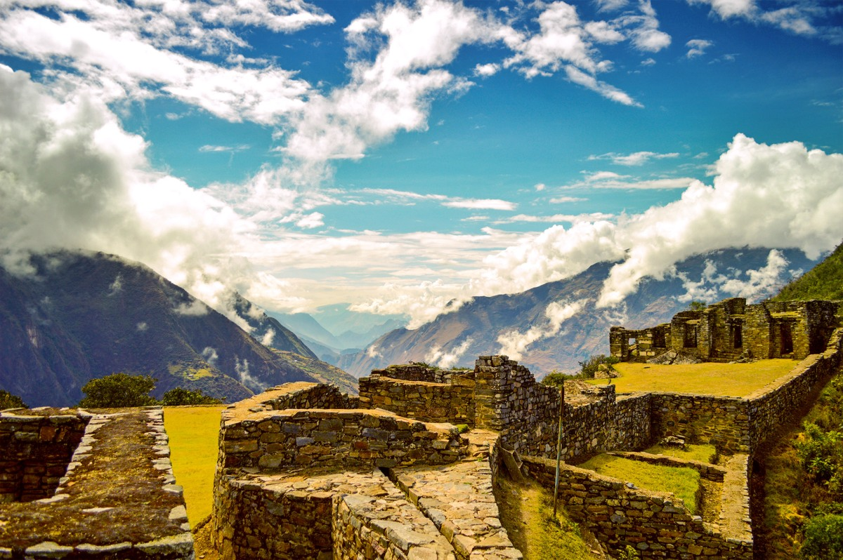 The Andes mountains from Hanan Plaza, Choquequirao, Cusco, Peru
