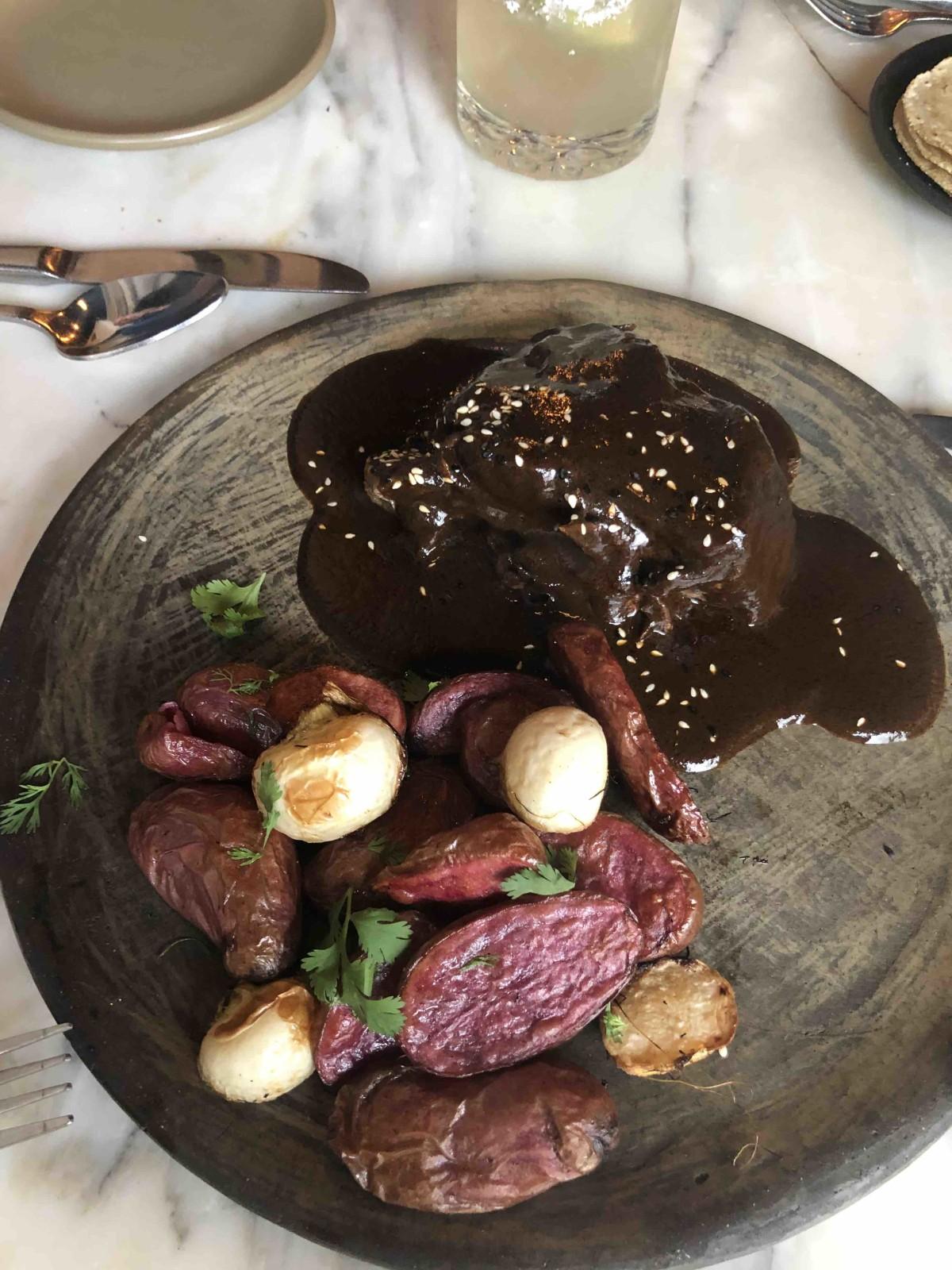 mole negro Joyce Farms shortrib, charred spring onions \x26 potatoes