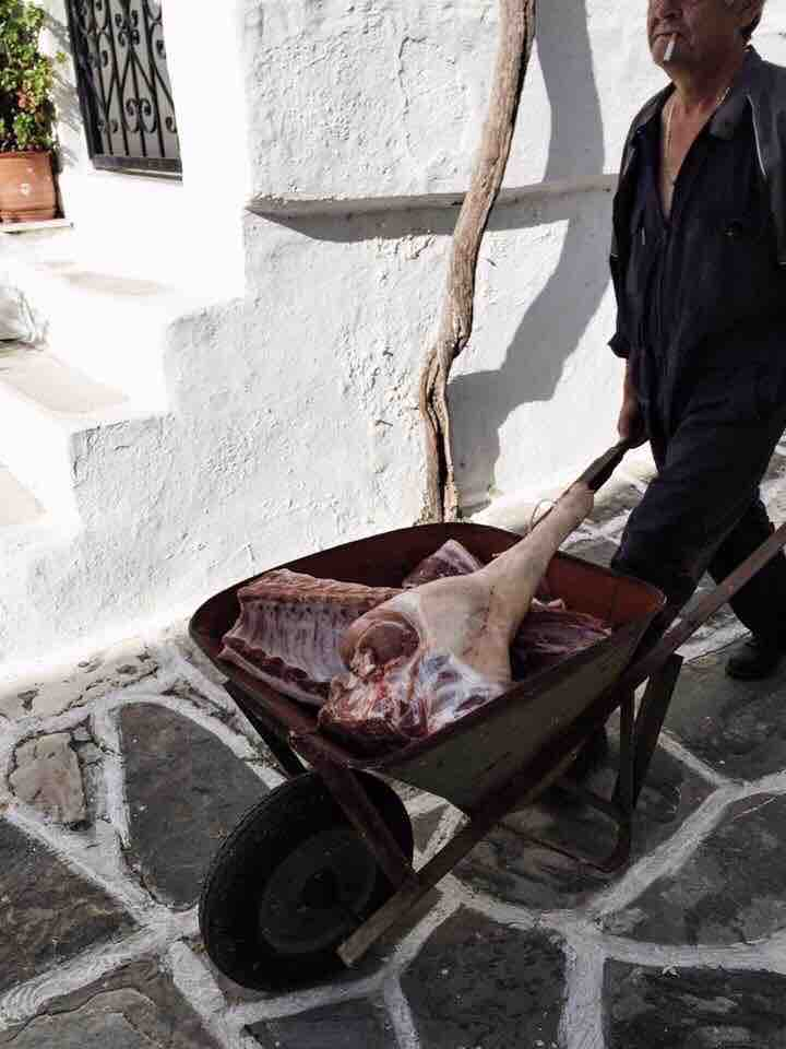 The entire village of Lefkes still fast asleep, except this man.