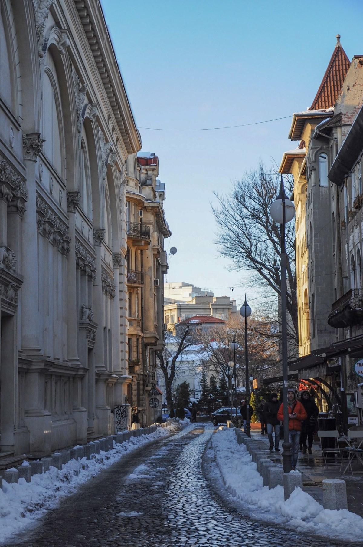 A street behind Romanian Athenaeum