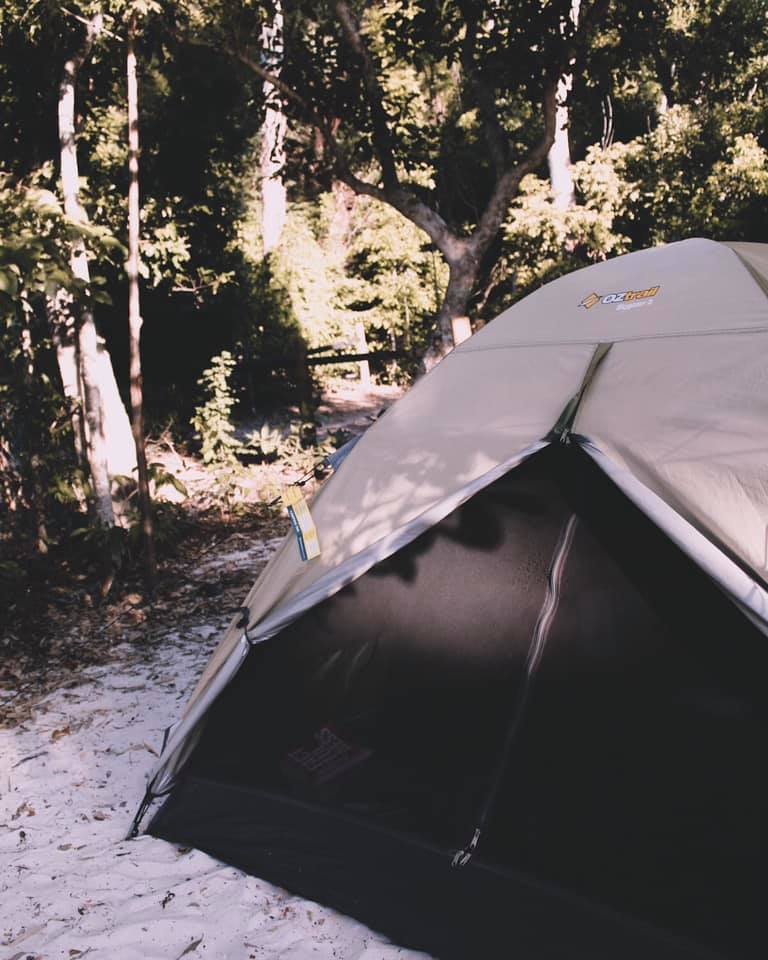 Our tent right on the beach